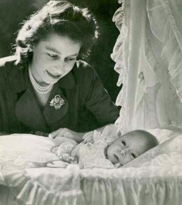 Prince Charles with then-Princess Elizabeth
